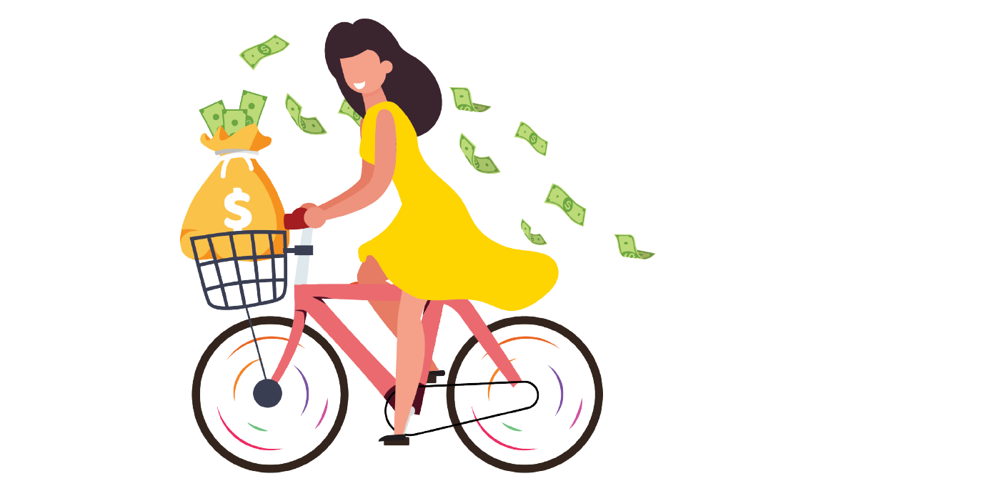 A cartoon woman riding a bike with dollars floating into the air behind her
